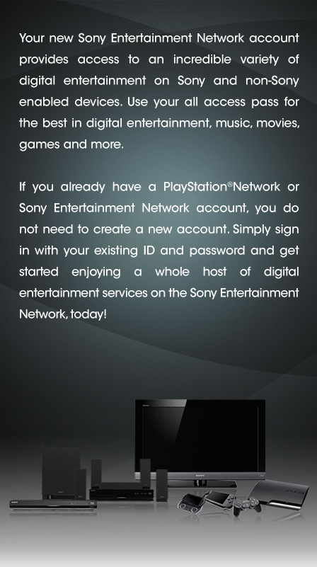 Create a New Account: Sony Entertainment Network